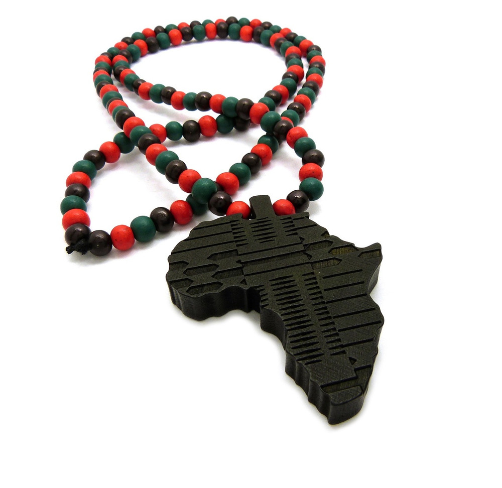 Black Wooden Africa Hip Hop Pendant Colored Chain Necklace