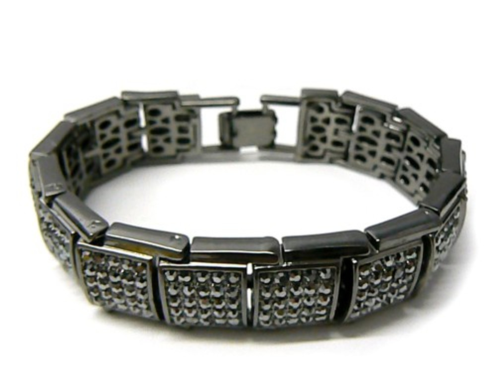 Simulated Diamond Iced Blocks Hip Hop Baller Bracelet Black