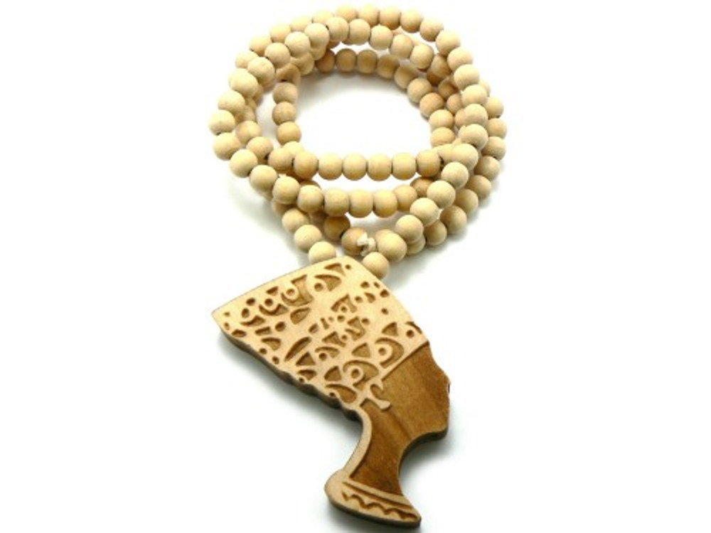 Queen of Egypt Nefertiti Wooden Beaded Chain Necklace Natural