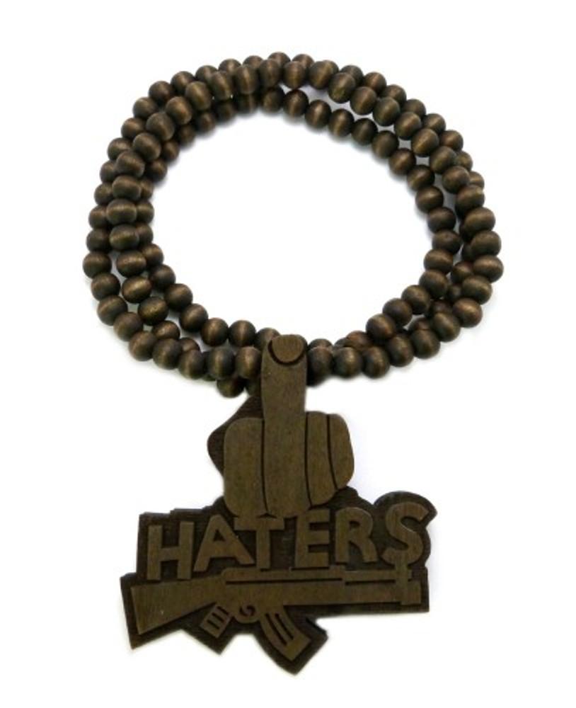 Haters Middle Finger Brown Wooden Hip Hop Pendant