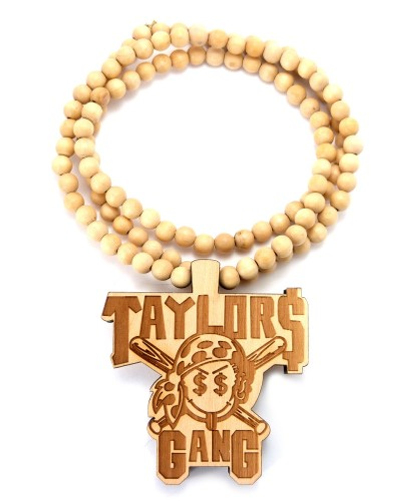 Taylor Gang Natural Brown Wooden Hip Hop Pendant