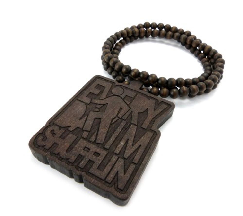 LMFAO Everyday Im Shufflin Wooden Hip Hop Pendant Brown