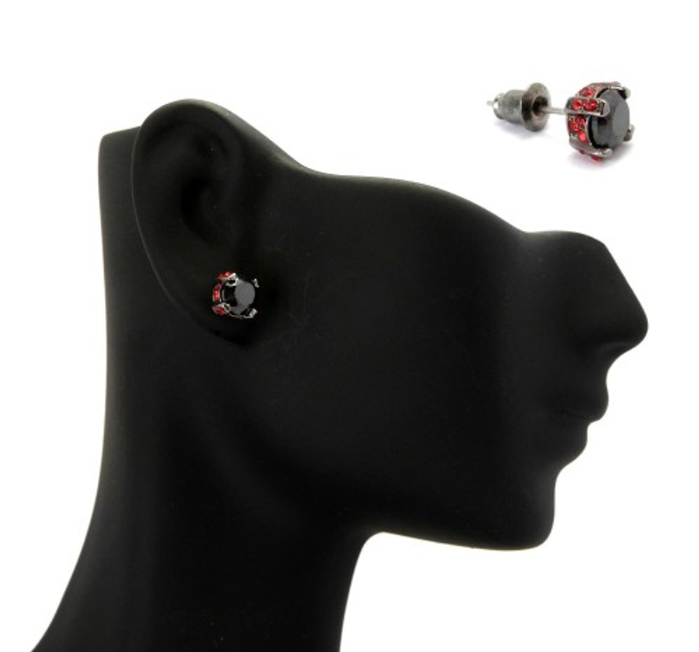 6mm Black & Red Stone Black Hematite Iced Out Earrings