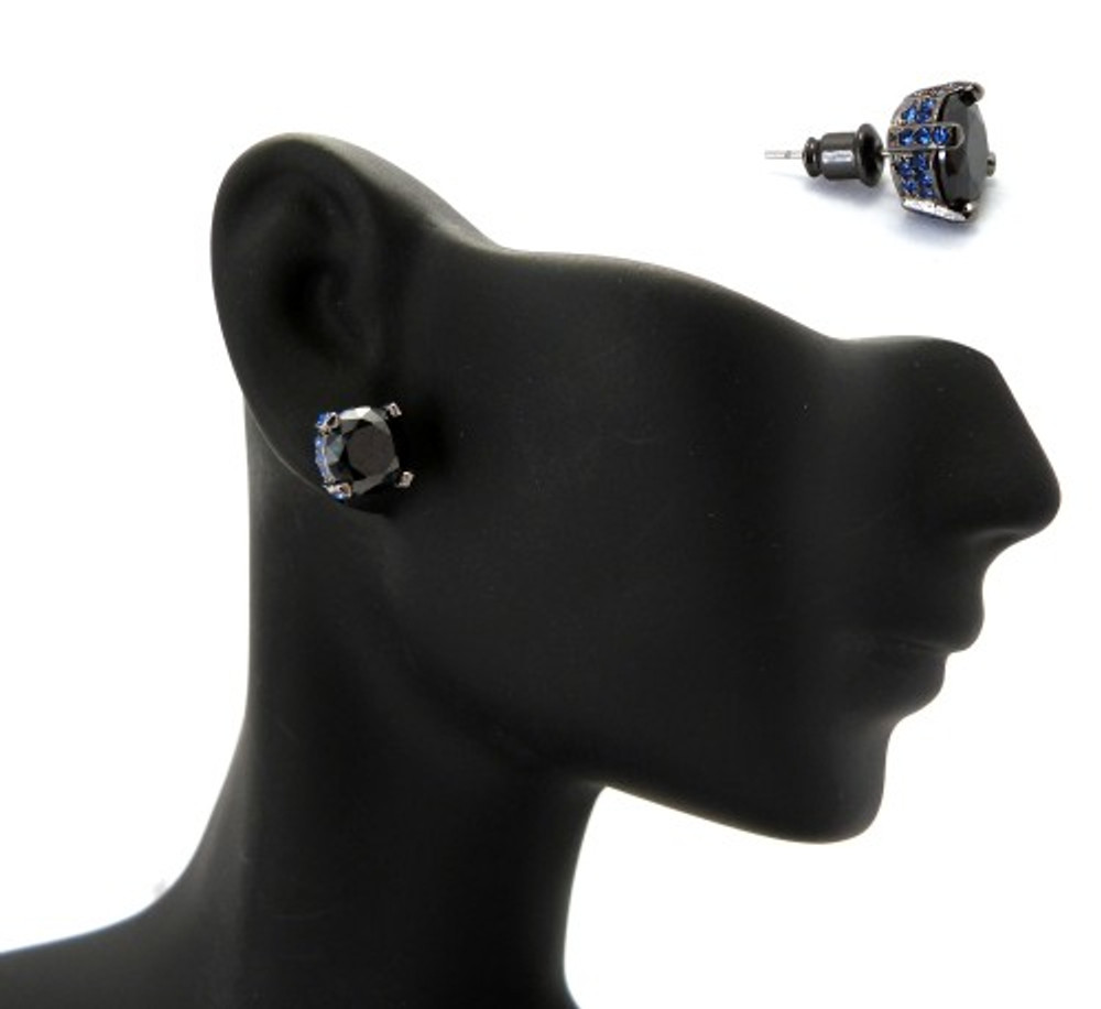 9mm Black & Blue Stone Black Hematite Iced Out Earrings
