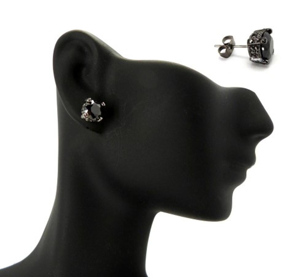7mm Black on Black Stone Black Hematite Hip Hop Earrings
