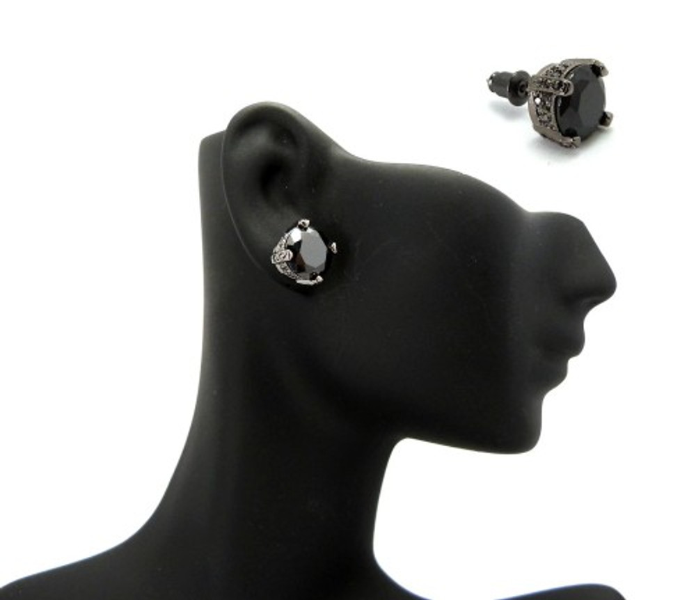 10mm Black on Black Stone Black Hematite Hip Hop Earrings
