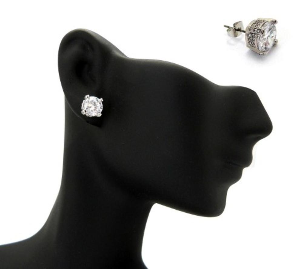 7mm Ice on Ice Round Cut Hip Hop Diamond Cz Earrings