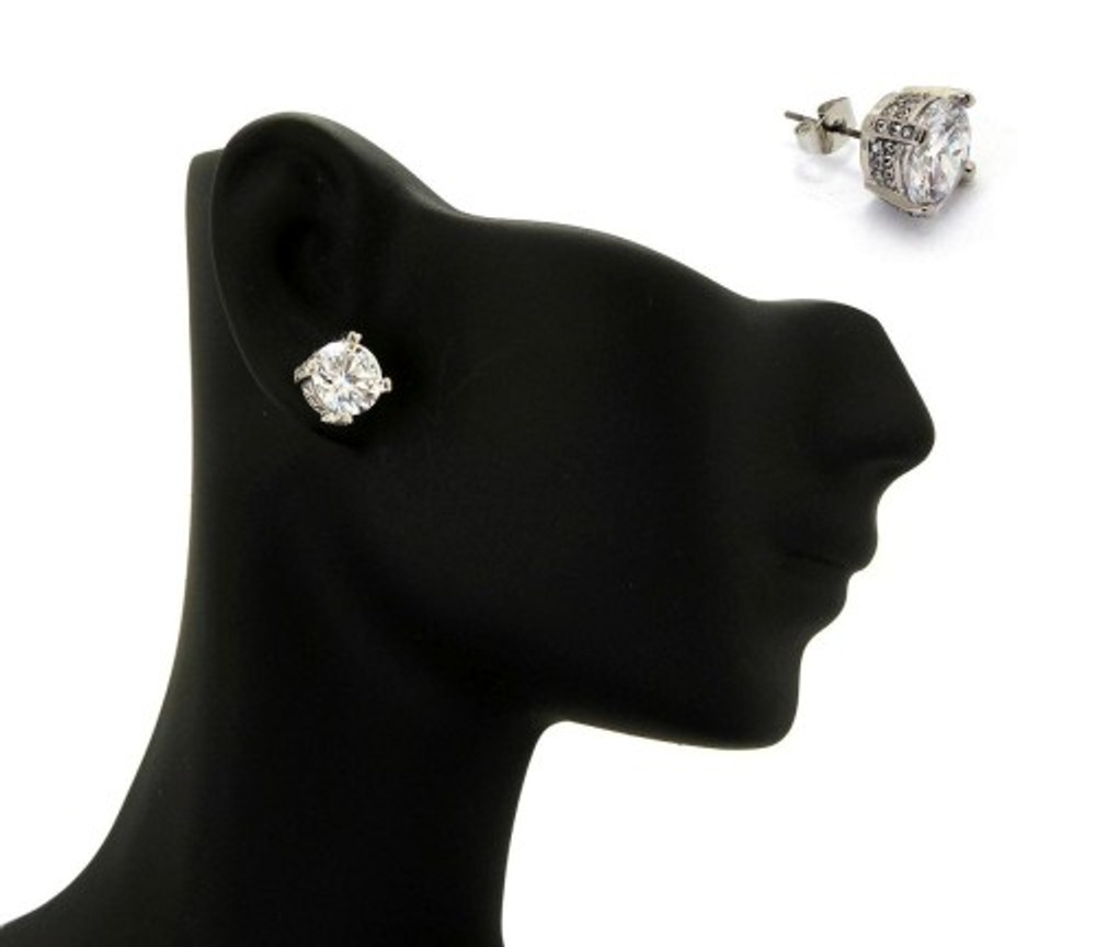 8mm Ice on Ice Round Cut Hip Hop Diamond Cz Earrings