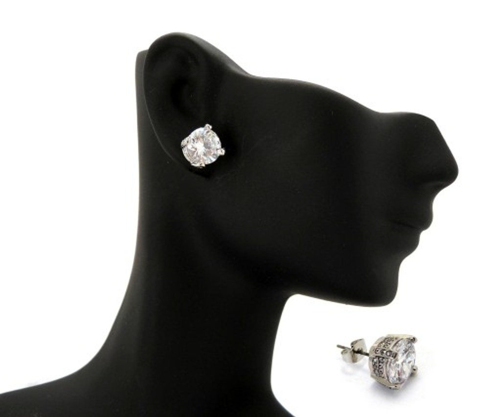 9mm Ice on Ice Round Cut Hip Hop Diamond Cz Earrings
