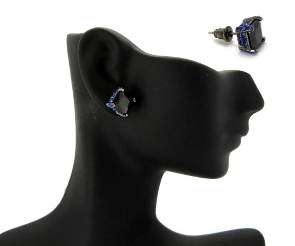9mm Black & Blue Princess Cut Stone Hip Hop Earrings