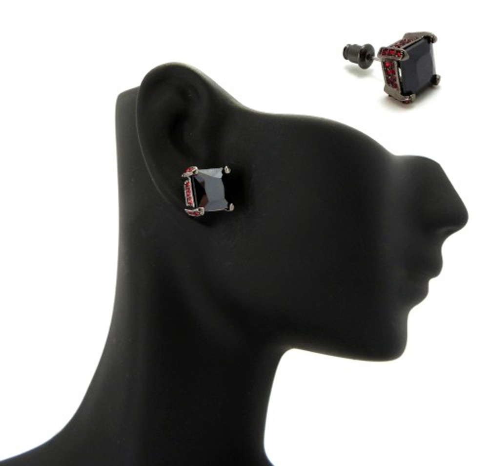 9mm Black & Red Princess Cut Stone Hip Hop Earrings