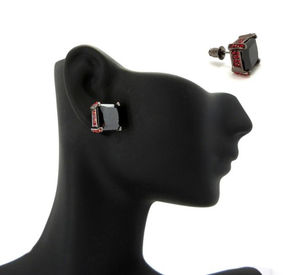 10mm Black & Red Princess Cut Stone Hip Hop Earrings