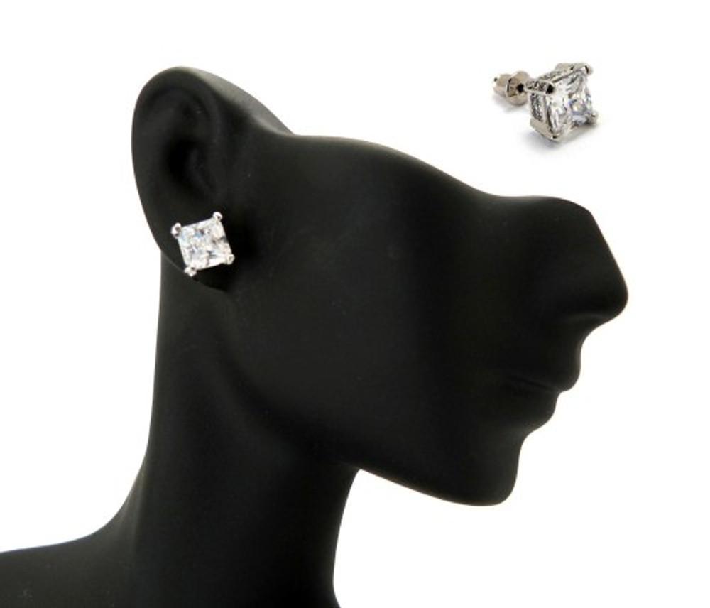 7mm Ice on Ice Princess Cut Hip Hop Diamond Cz Earrings
