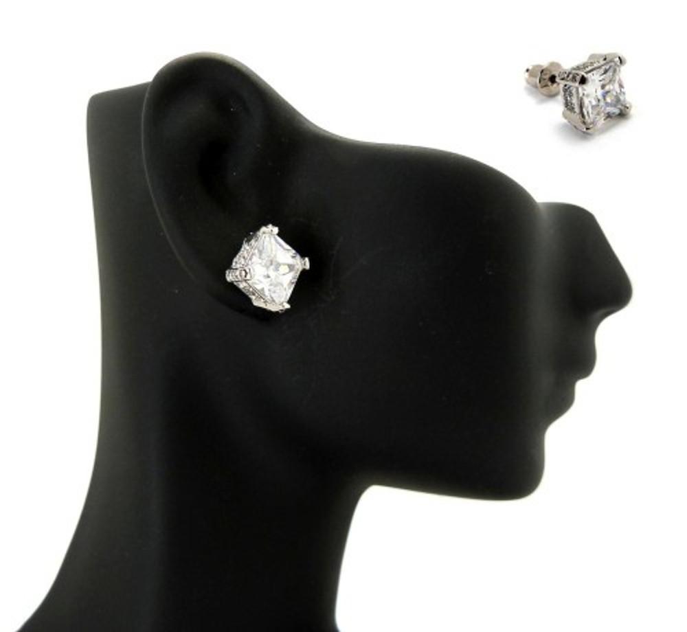 8mm Ice on Ice Princess Cut Hip Hop Diamond Cz Earrings