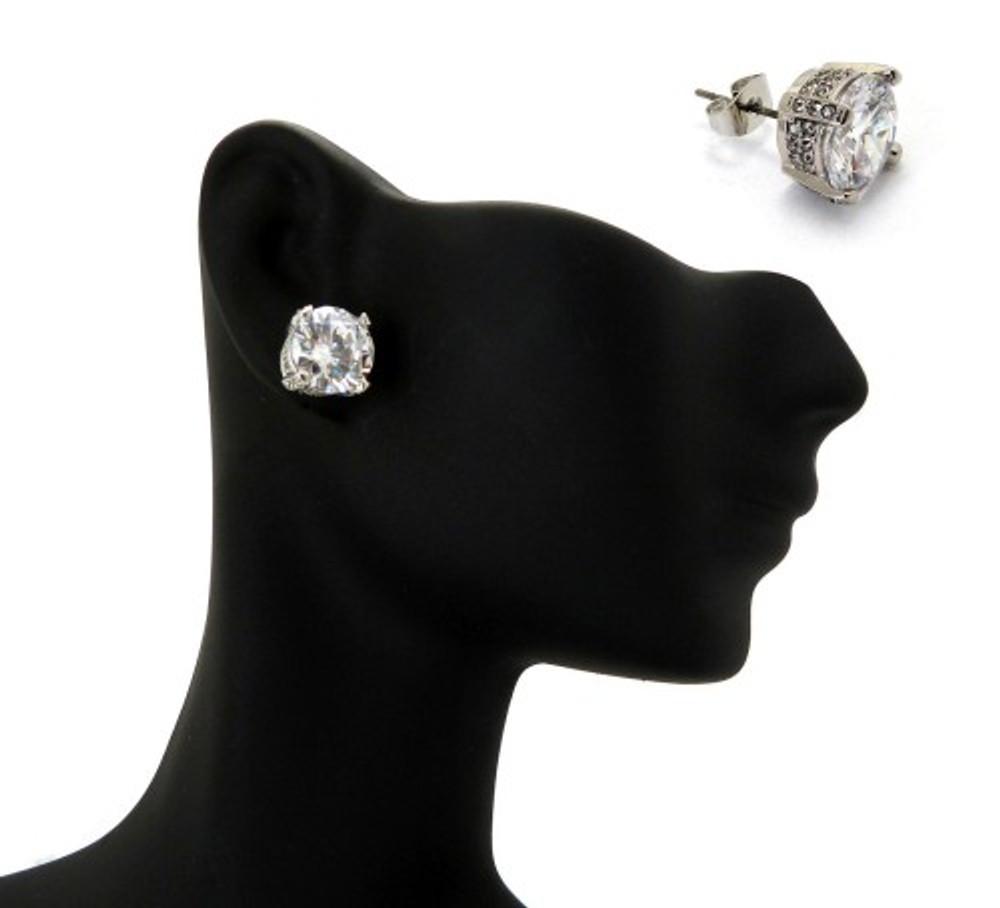 9mm Ice on Ice Princess Cut Hip Hop Diamond Cz Earrings