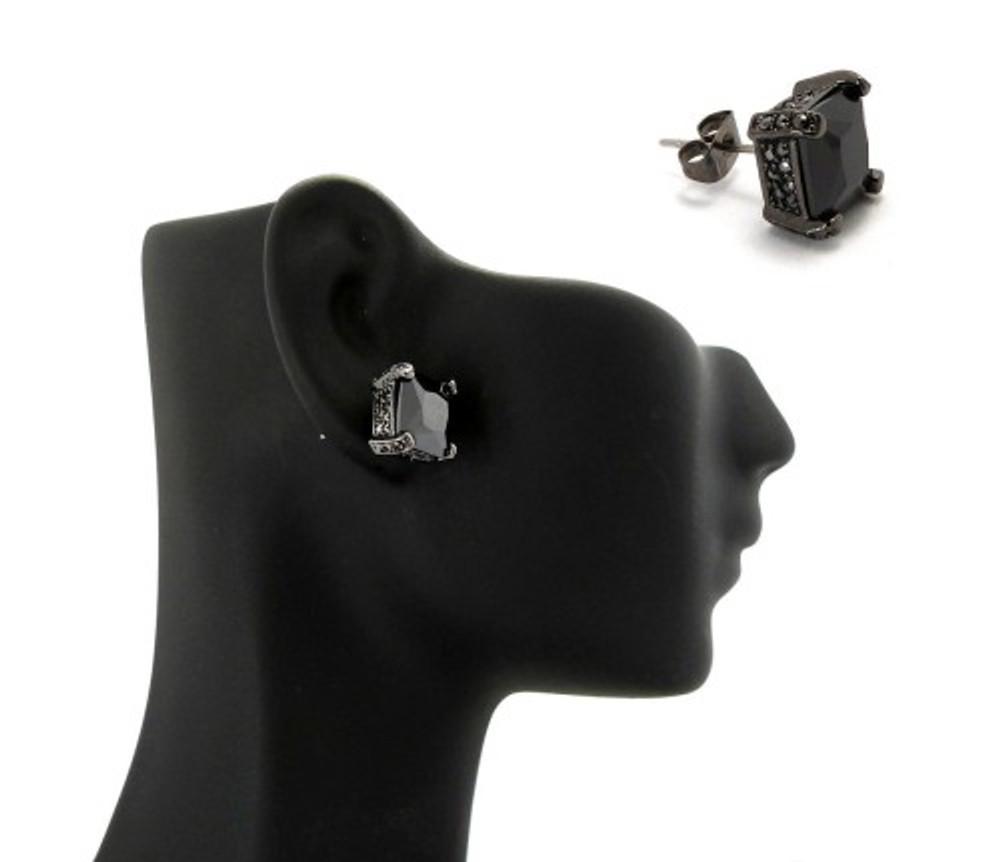 9mm Black on Black Princess Cut Cz Stone Hip Hop Earrings