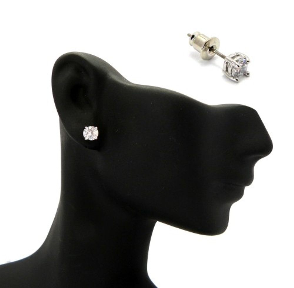 Rhodium Silver 5mm Diamond Cz Hands Set Iced Out Earrings