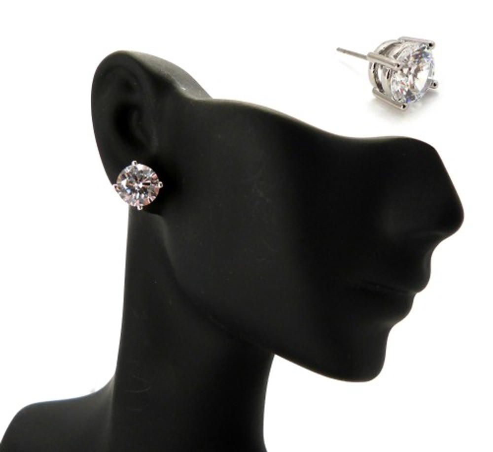 Rhodium Silver 8mm Cubic Zirconia Hands Set Iced Out Earrings