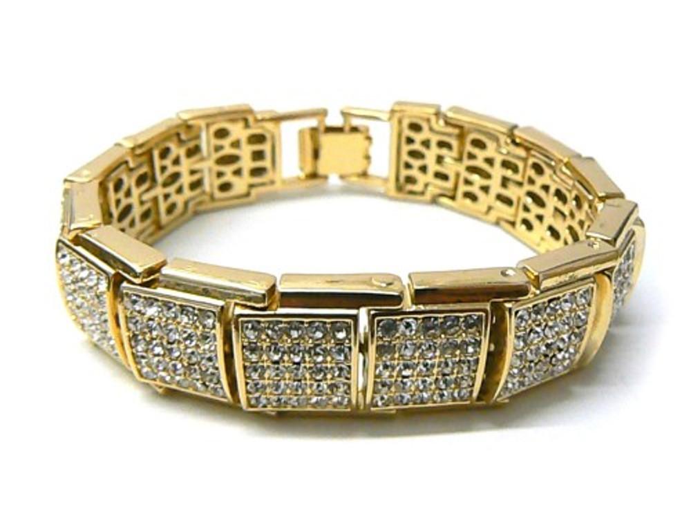 Mens Blocks of Ice Hip Hop Bling Baller Bracelet 14k Gold