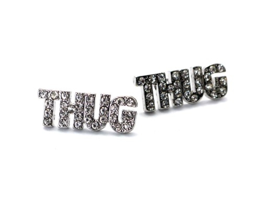 Rhodium Silver Iced Out Simulated Diamond Thug Earrings