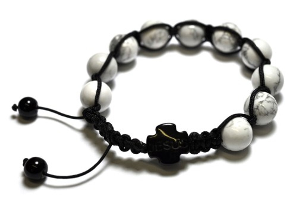 White Marble Beaded JESUS Rosary Disco Ball Bracelet
