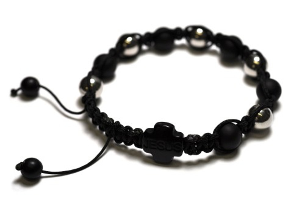 Shiny & Black 10mm Disco Ball JESUS Rosary Bracelet