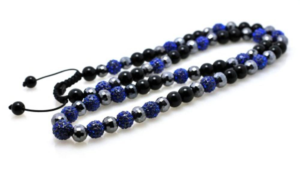 Blue Cz Shiny Disco Ball Iced Out Chain