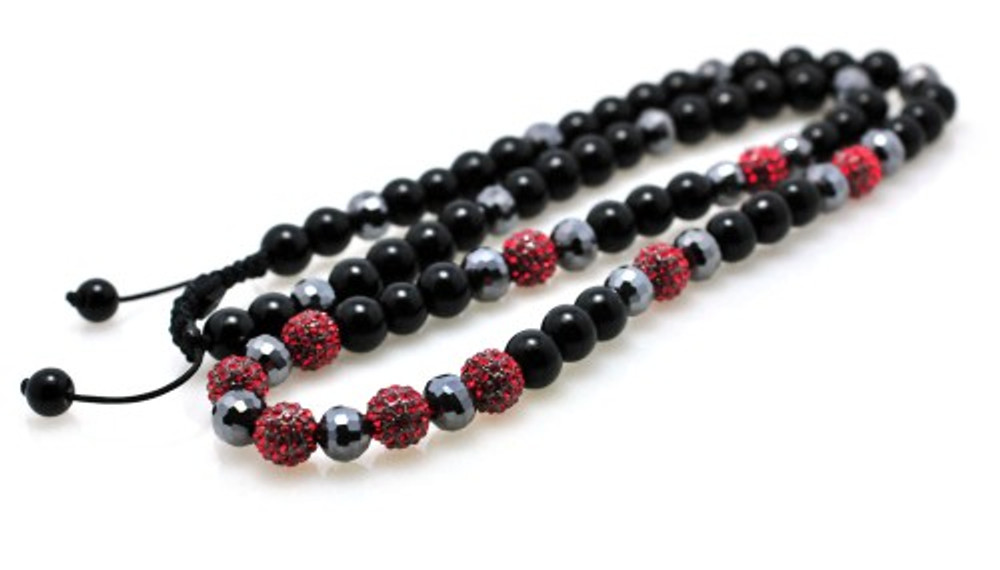 Red Stone Metallic Shiny Disco Ball Bling Chain Necklace