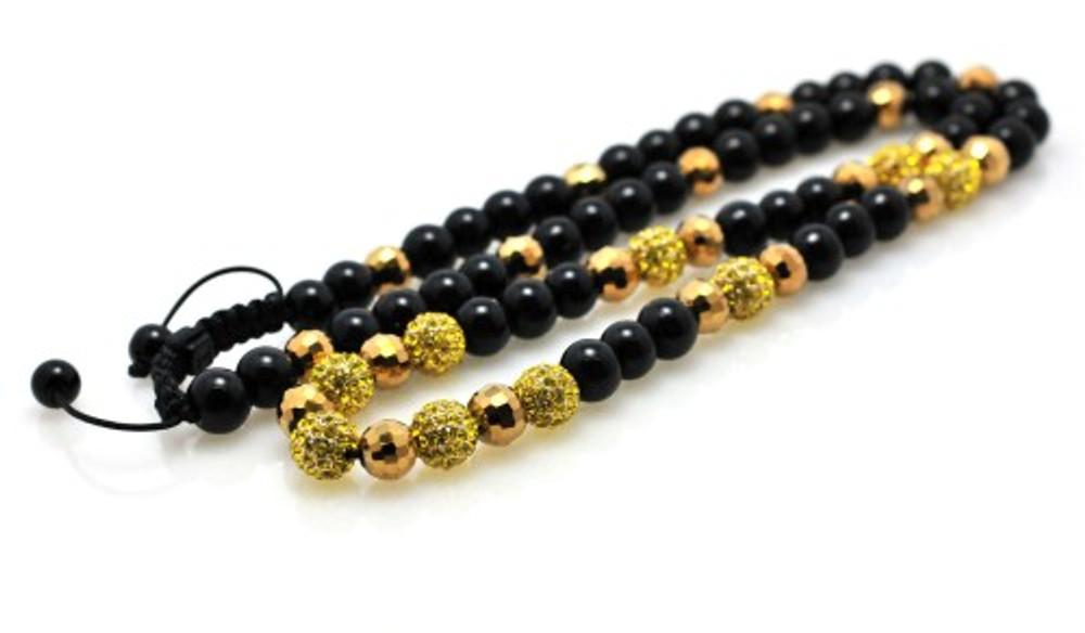 Canary Stone Metallic Shiny Disco Ball Bling Chain Necklace
