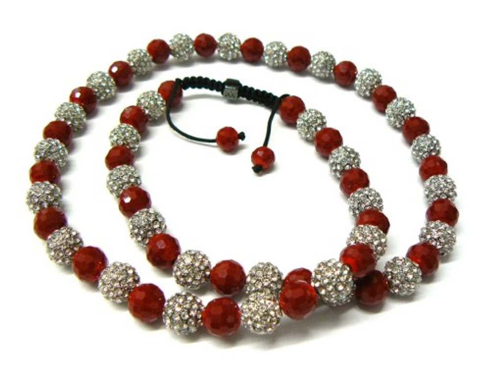 Red Disco Ball Rhodium Silver Cz Hip Hop Jewelry Chain