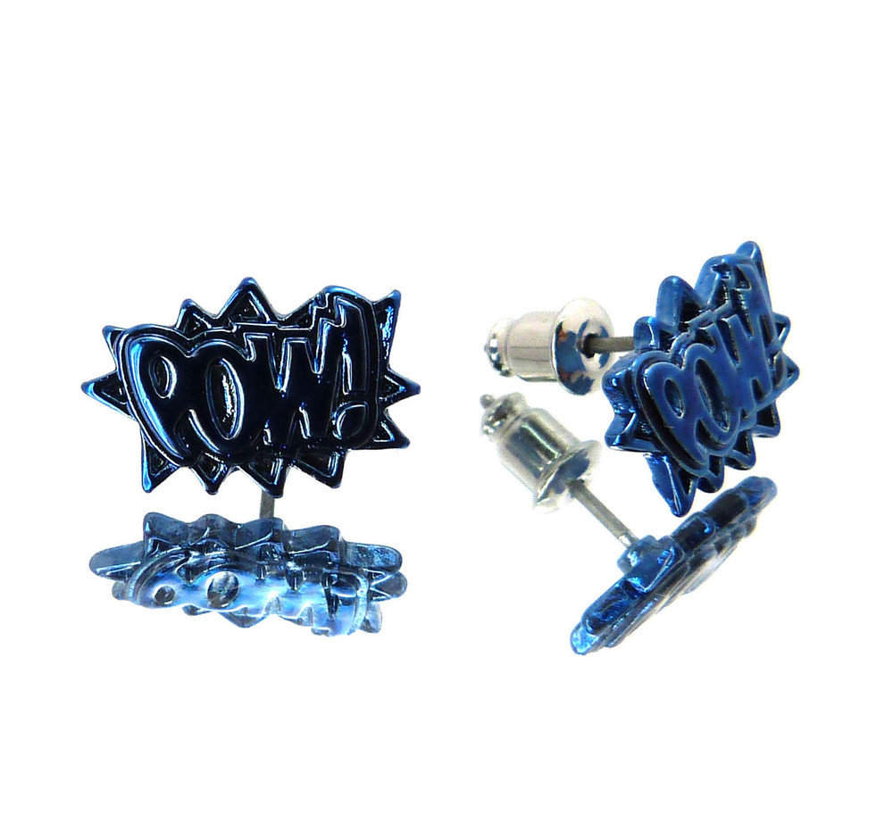 Studded POW Bling Hip Hop Earrings Blue