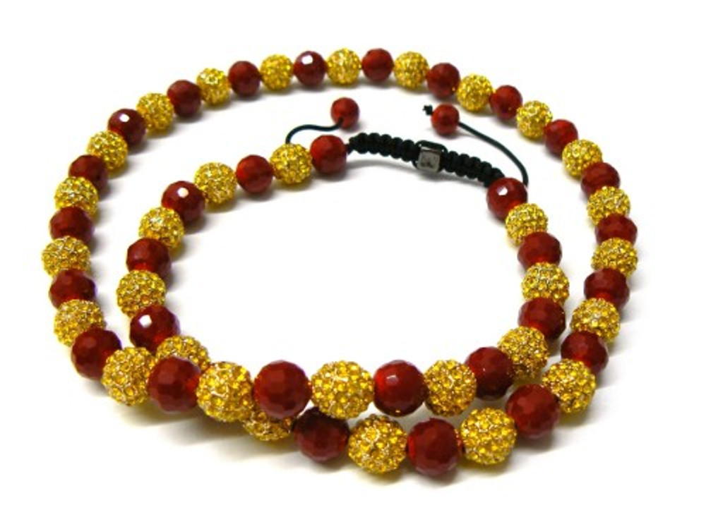 Canary Yellow Cz Stone Gold Red Disco Ball Chain Necklace