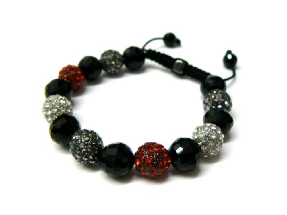Red / Clear / Black Stone Cz Hip Hop Disco Ball Bracelet