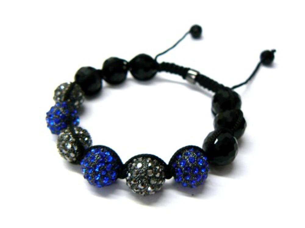 Black Hematite Blue / Black Stone Iced Out Disco Ball Bracelet