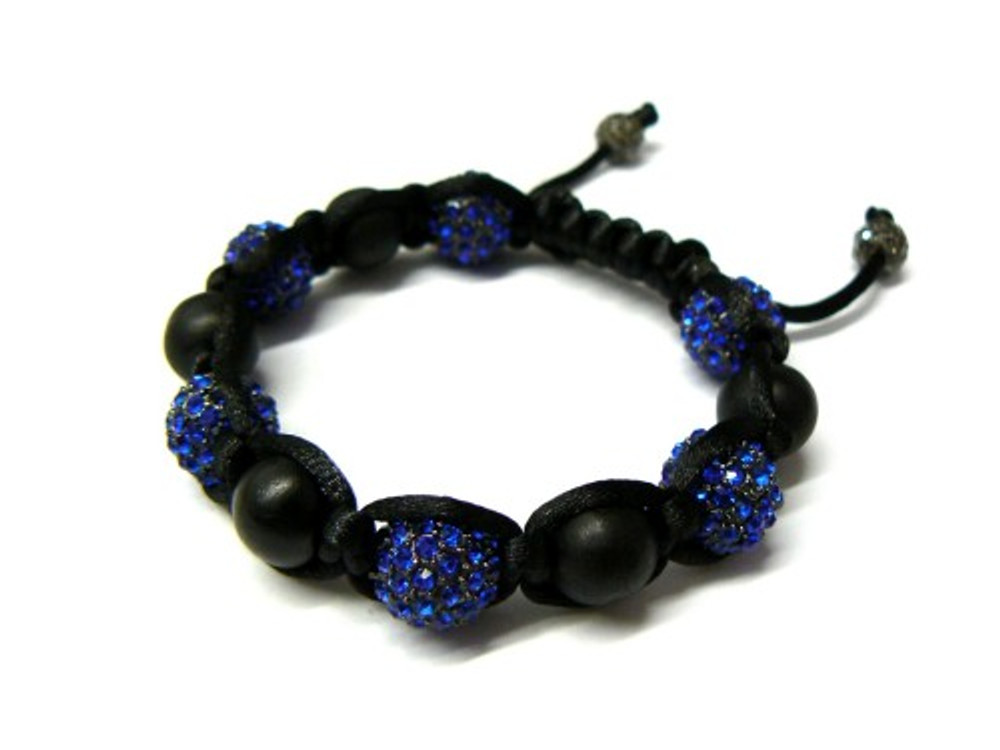 Blue Simulated Diamond Matte Black Beaded Iced Out Bracelet