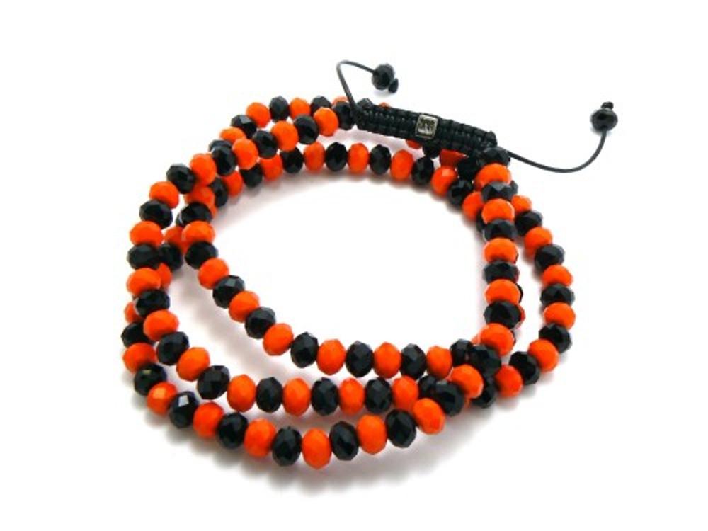 Orange & Black Disco Ball Hip Hop Chain Necklace