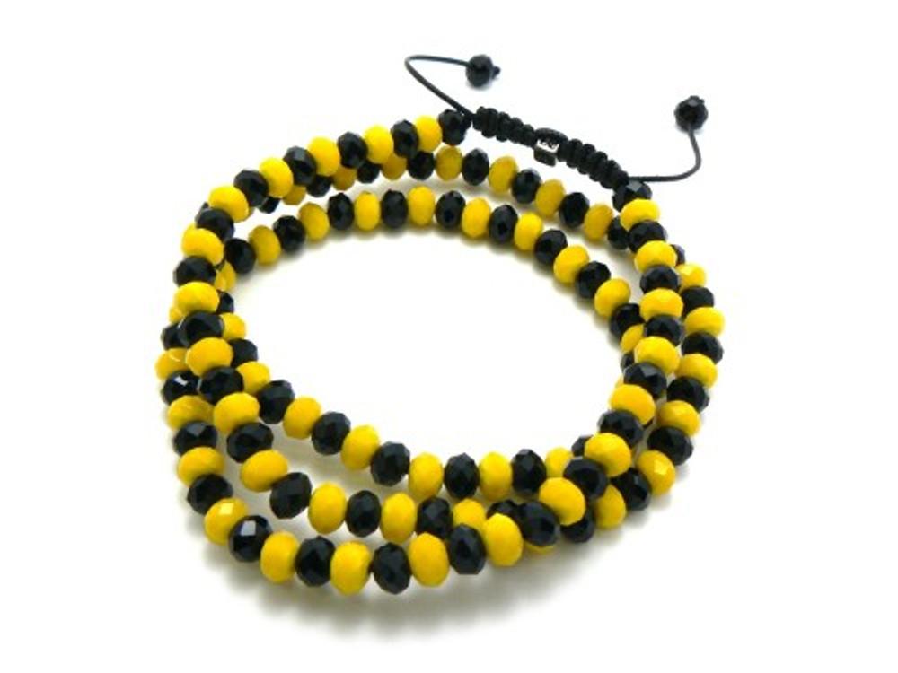 Mens Solitaire Cz Black & Yellow Disco Ball Hip Hop Chain Necklace