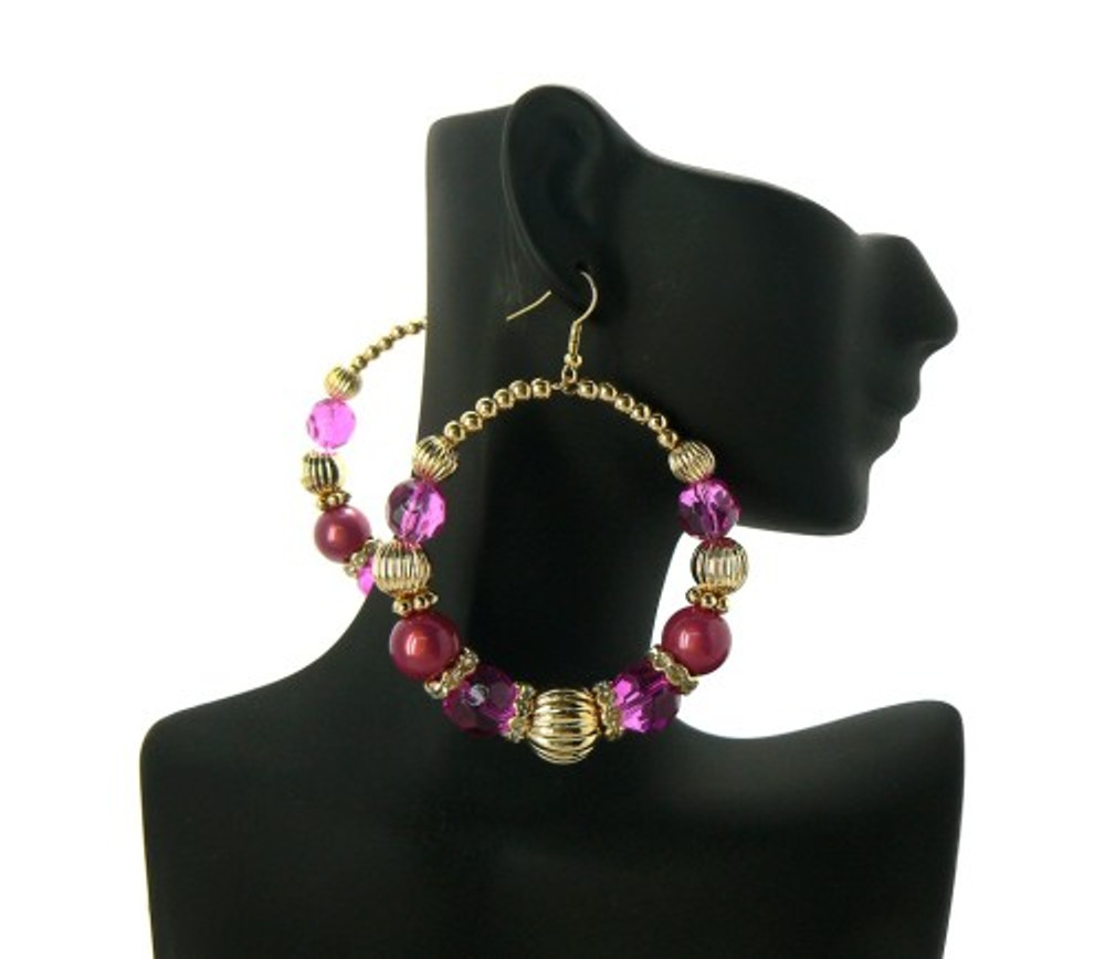 Ball Hoop Basketball Wives Earrings Fuchsia Gold