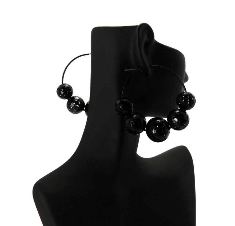 Black Hematite Disco Ball Style Basketball Wives Earrings