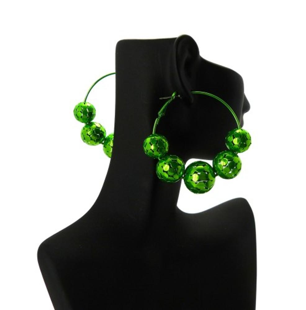 Disco Ball Style Basketball Wives Earrings Metallic Green