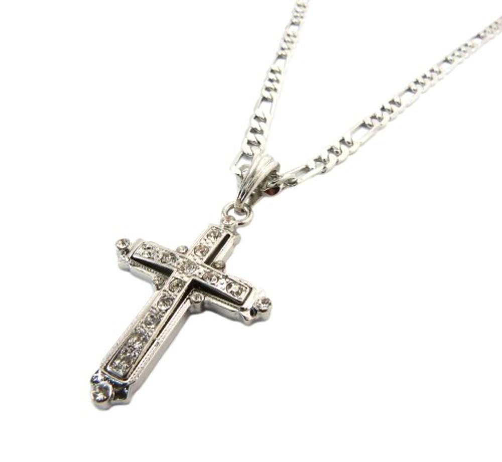 Classic Diamond Cz Original Cross Pendant Chain Silver