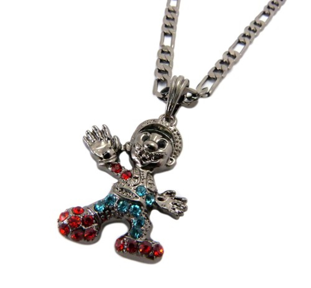 Diamond Cz Super Mario Iced Out Pendant Chain Black