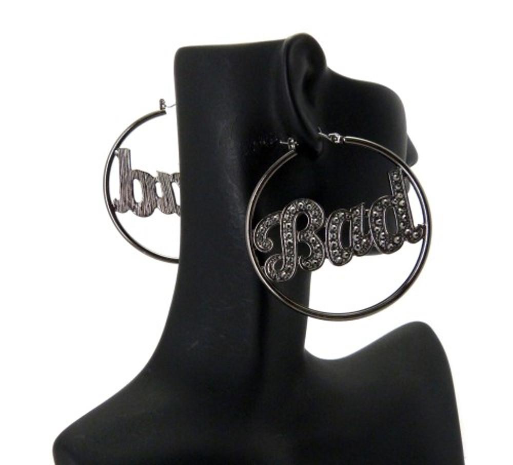 Cz Black Hematite Bad Hoop Earrings