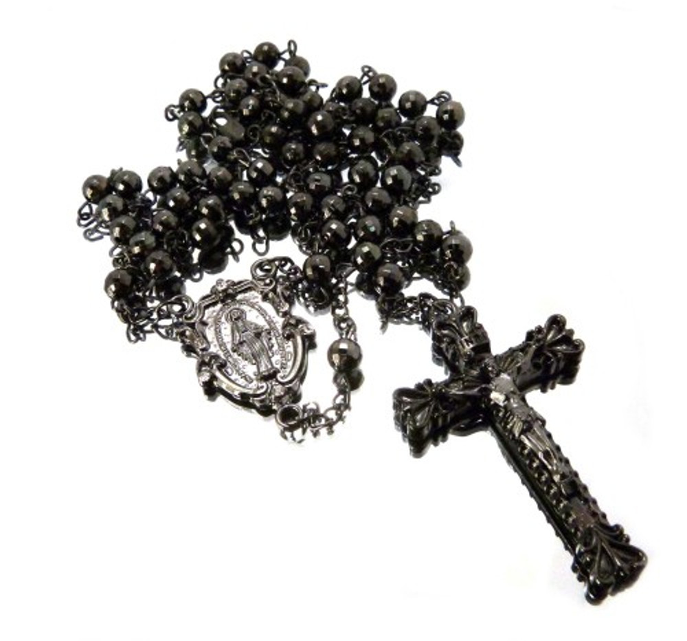 All Black Hematite Rosary Chain Log Cross Pendant
