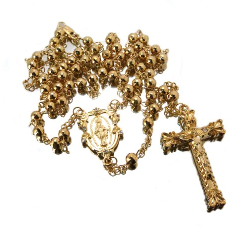 14k Gold Overlayed Log Cross Rosary Chain Pendant