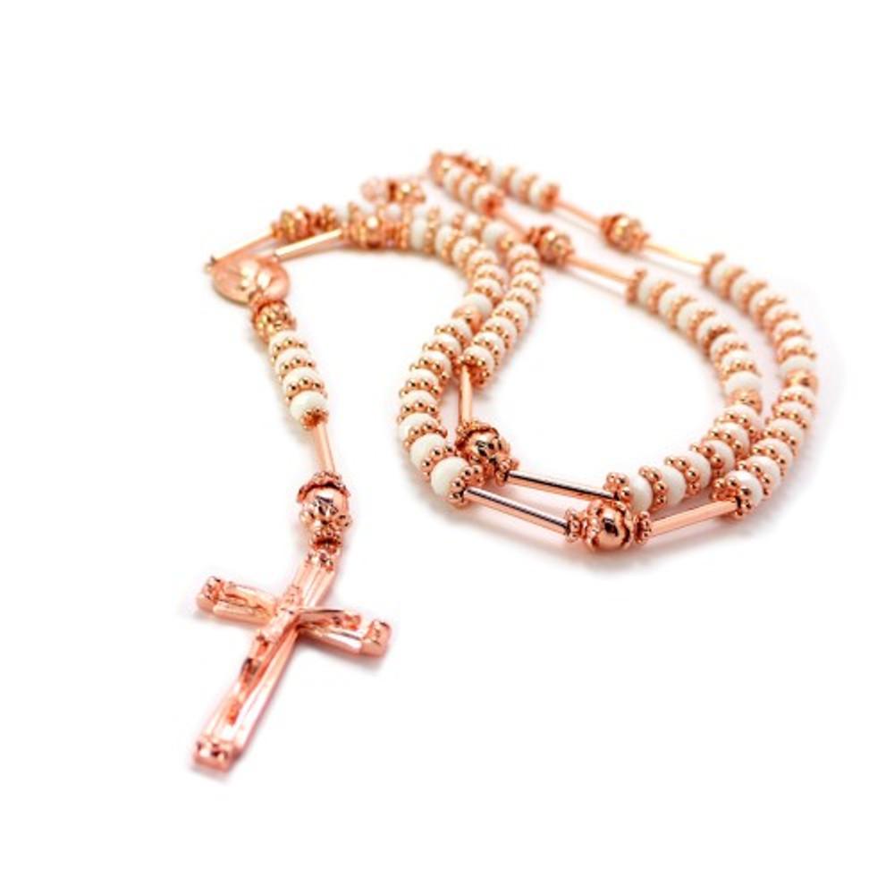 Rose Gold White Disco Ball Prayer Hands Rosary Chain Pendant