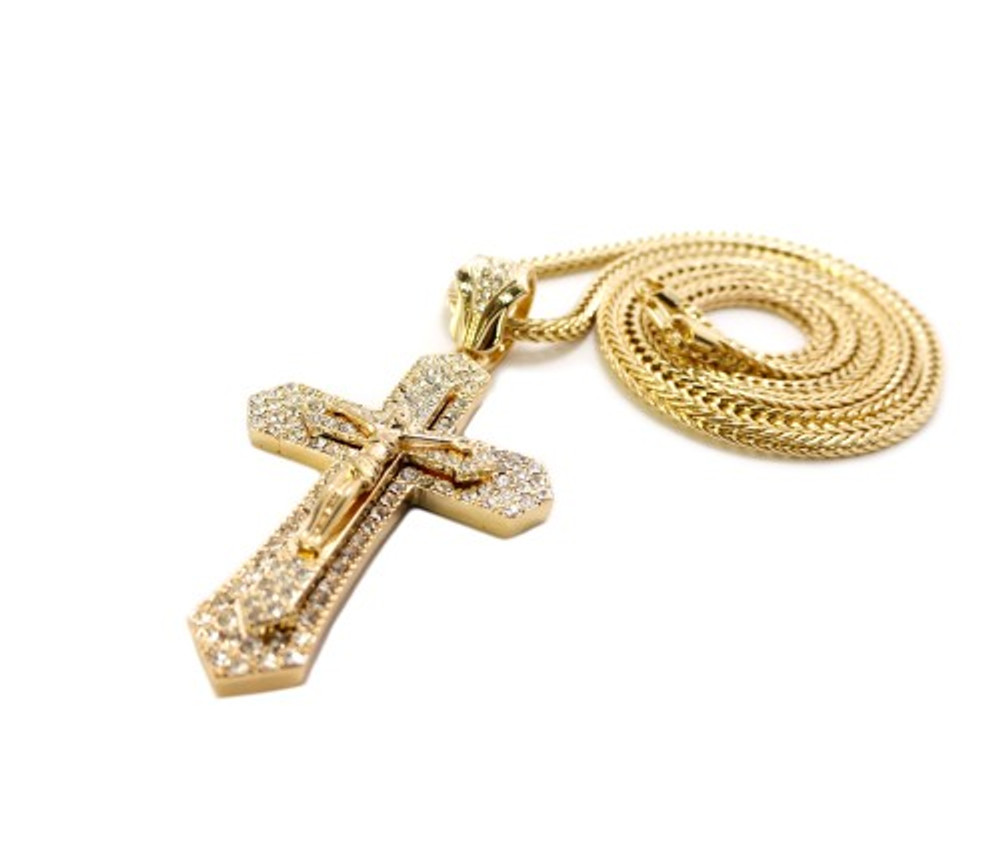 "Mens 3D Lifted JESUS Cross Pendant w/ 36"" Franco Link Gold"
