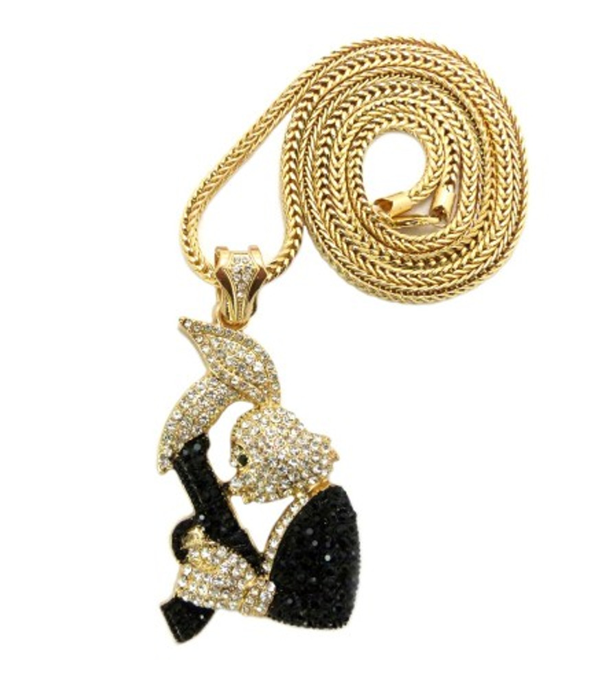 Hip Hop Exotic Stone Bugs Bunny Gun Pendent Chain Gold