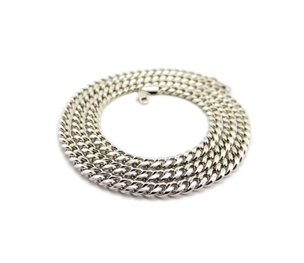 "Miami Cuban Link Chain Necklace 36"" Silver"