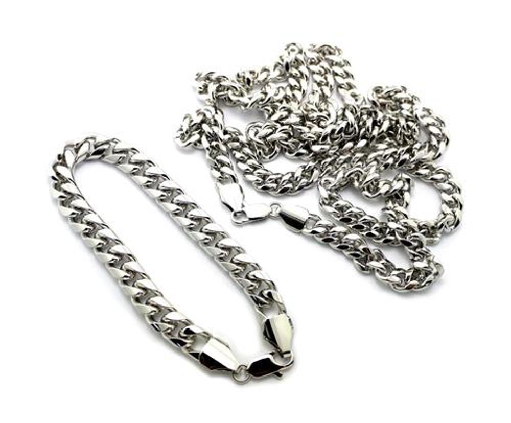 Miami Cuban Link Chain Necklace & Bracelet Set Silver